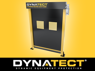 Need to increase safety? Are you using light curtains? Is space a concern? Dynatect's Gortite® VF Automated Machine Safety Door restricts access to hazardous operations while allowing the operator to stay closer to the work area, improving ergonomics and increasing productivity. Unlike light curtains, which can't contain process hazards, this door can isolate common process driven hazards such as fluid splatter/mist, weld smoke/sparks/flash and light debris