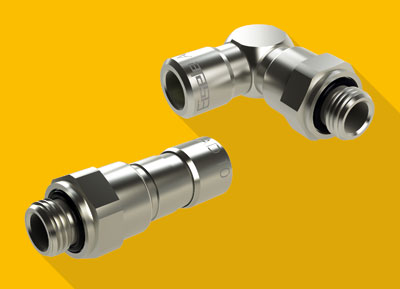 Eisele developed a new ball bearing rotary connector that conveys compressed air of -0,9 to 16 bar from a rigid component to a rotating component