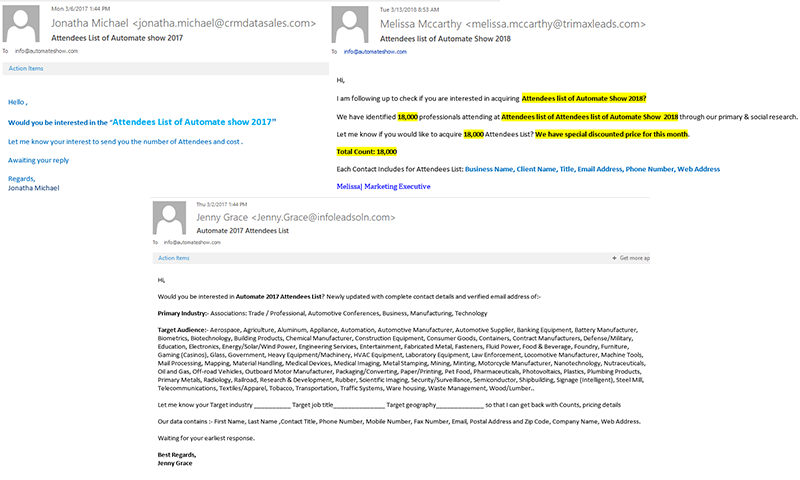 Examples of fraudulent emails received at A3